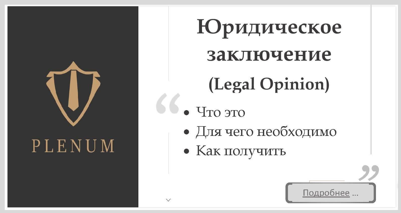Юридическое заключение (Legal Opinion) в Украине